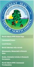 North Dakota web site menu