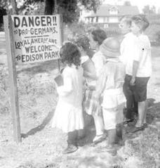 Edison Park anti-German sign