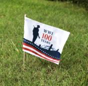 Memorial flag on grass