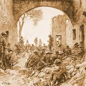 Troops waiting to advance at Hatton Chattel, St. Mihiel Drive -- Drawing by Capt. W. J. Aylward