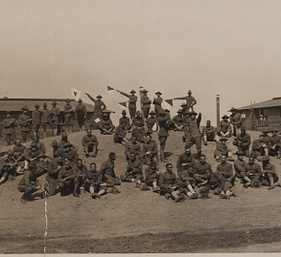 Soldiers on mound at Camp Sherman