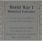 Fillmore County Fairgrounds WWI Memorial Entrance Plaque