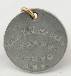 Mary Muirhead's World War I dog tag