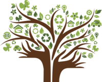 illustration of tree with hands as the trunk and green eco friendly symbols as the leaves