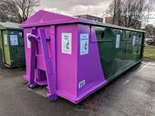 Glass recycling drop-off bin
