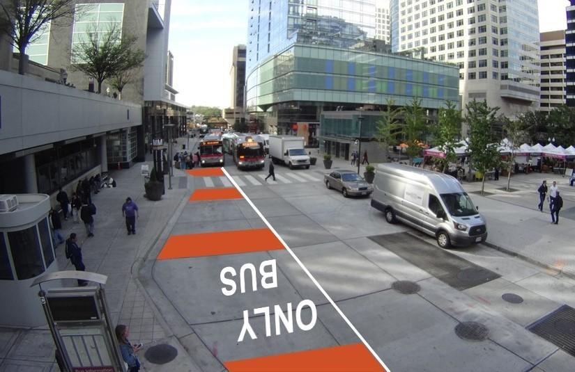 Rendering of bus-only lane markings