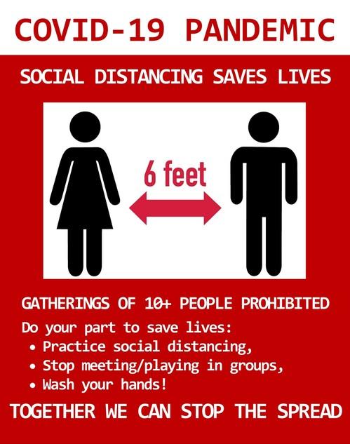 social distance warning sign parks