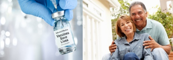 Needle, vaccine bottle and Hispanic couple