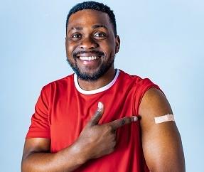 Black man vaccinated