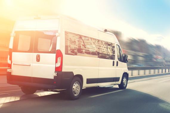 Van on highway