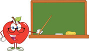 apple and chalkboard