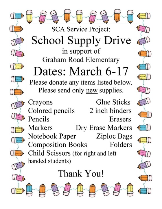 SCA Supply Drive Flyer