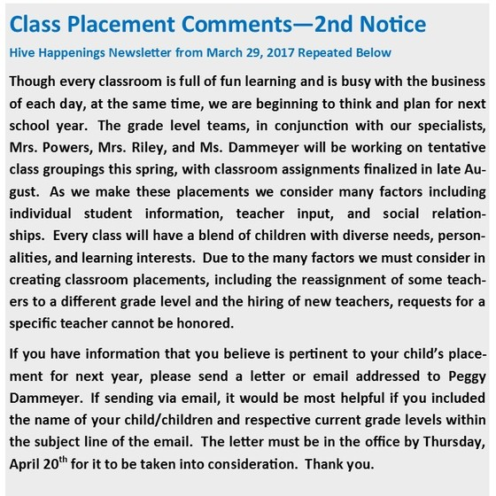 Class Placement Comment - 2nd notice