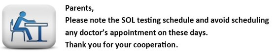 SOL Tests Note to parents