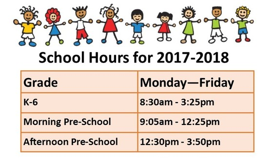 School Hours for 2017-2018