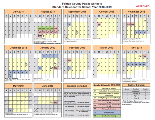 Fairfax County School Calendar 2019 GBE Happenings 1.12.18