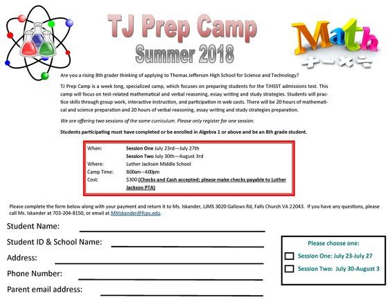 TJ Prep Camp