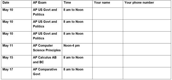 AP Proctor Parent Volunteer Request