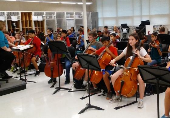 Ms. Yacovissi's orchestra class