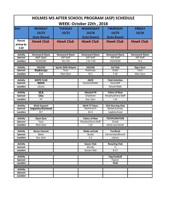 ASP Week of 10/22/18