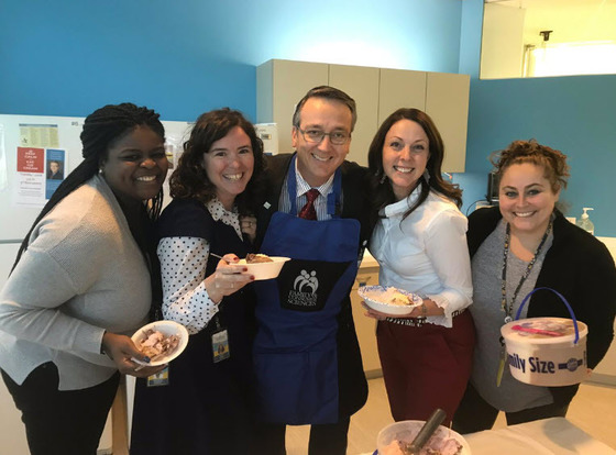 Office of School Support staff and Superintendent Brabrand with ice cream