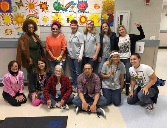 Key Center staff dressed for Decades Day during Spirit Week