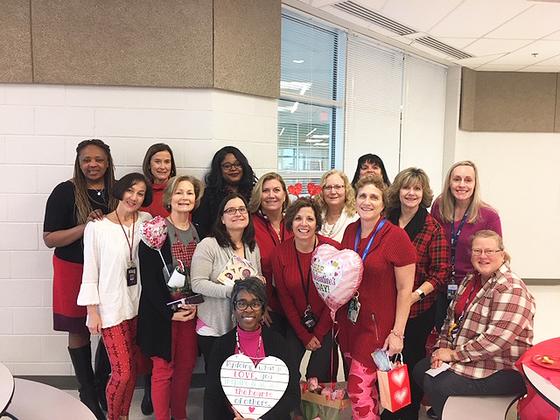 Newington Forest ES staff on Valentine's Day