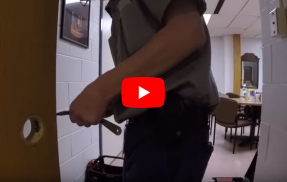 Safety and security video; man replacing lock