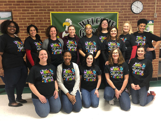 Gunston staff wearing matching t-shirts