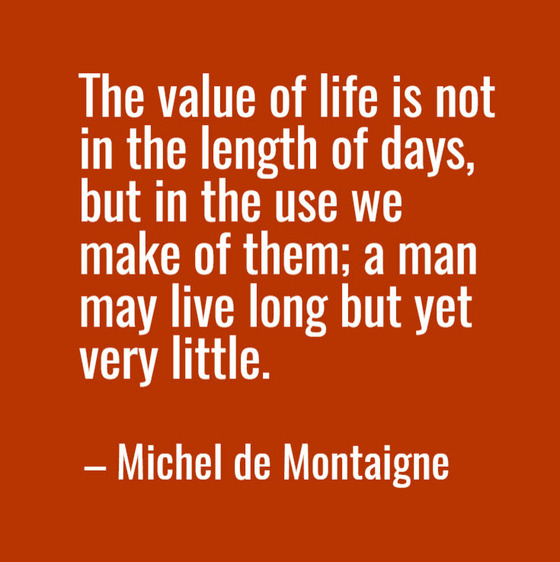 Michel de Montaigne quote about making the most of life