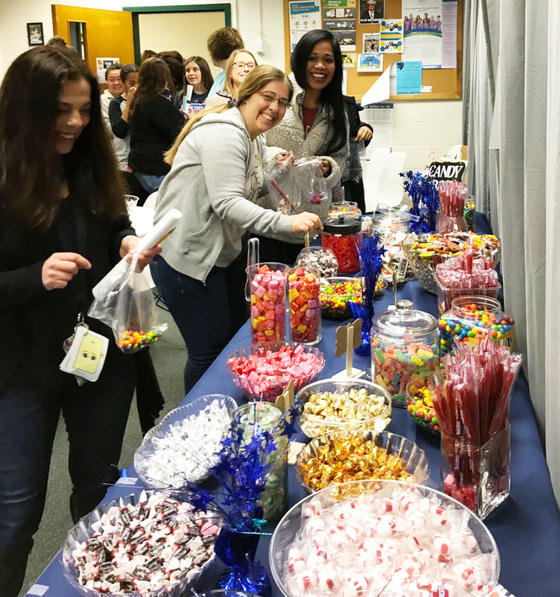 Fairfax Villa ES staff enjoying a candy buffet