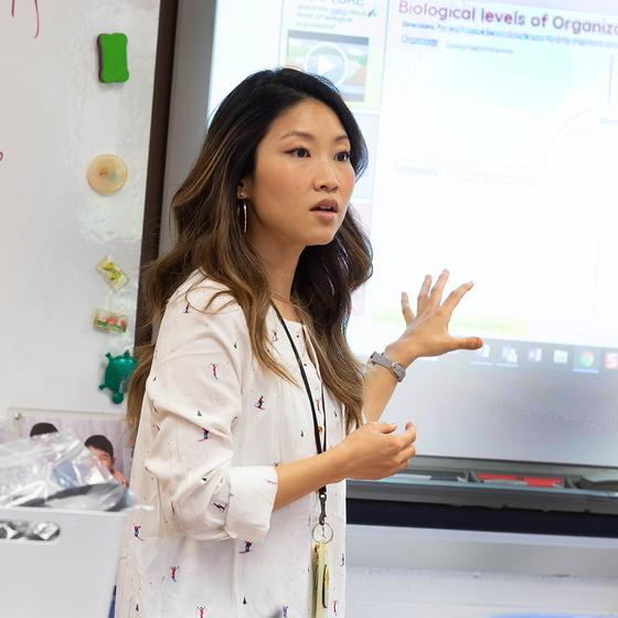 teacher with white board