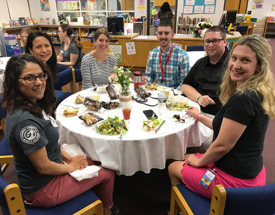 Cardinal Forest ES teachers enjoy their Teacher Appreciation Luncheon.