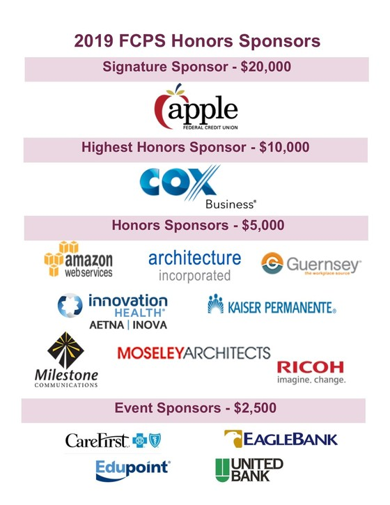 Logos of companies sponsoring the FCPS Honors