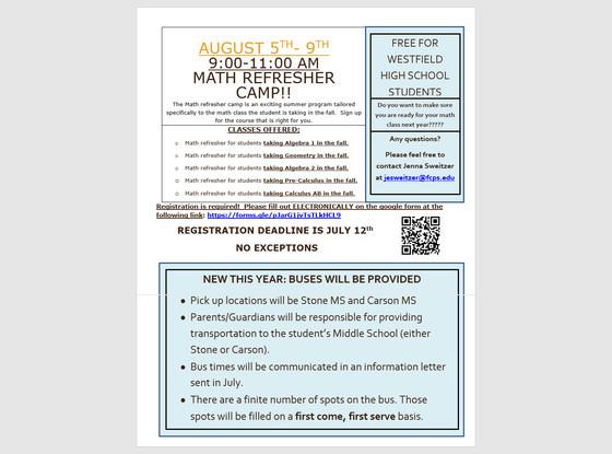 Summer Math Refresher Camp