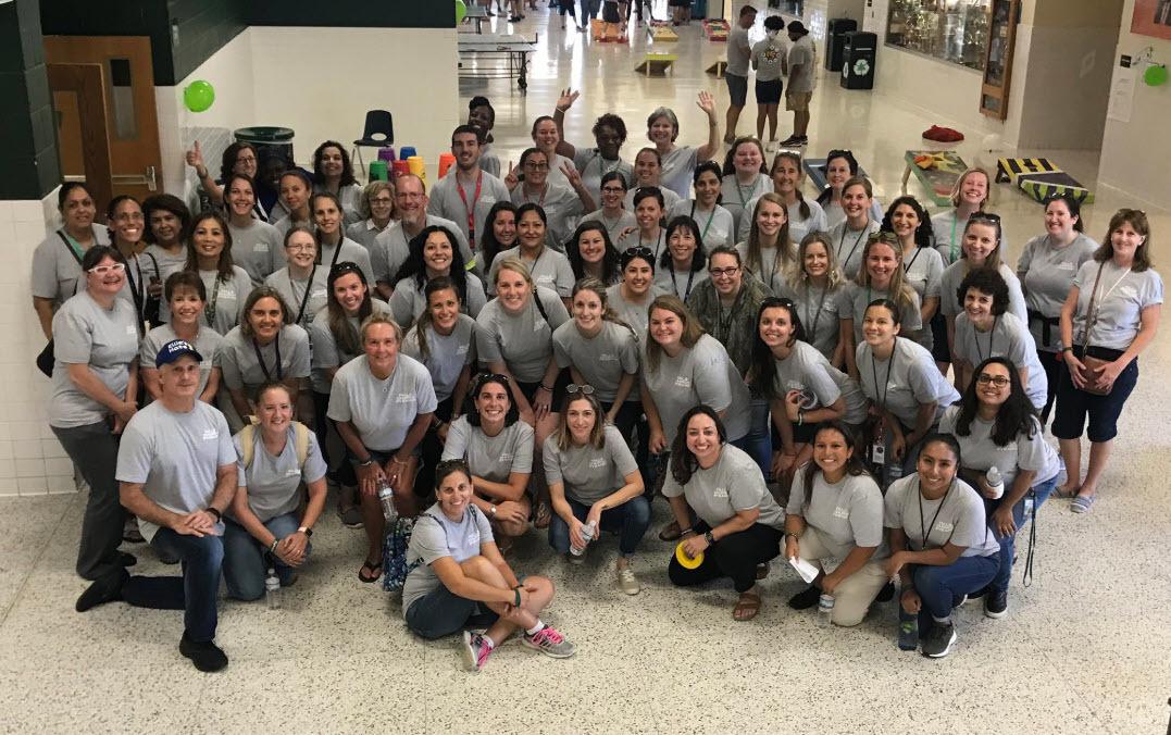 Woodburn School staff in a group photo