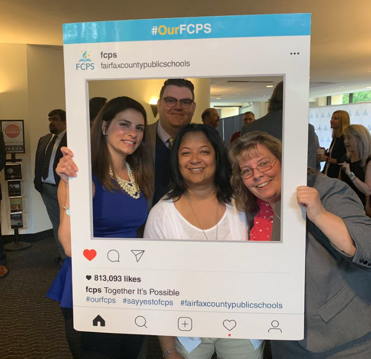 Lorton Station Staff with #OurFCPS frame