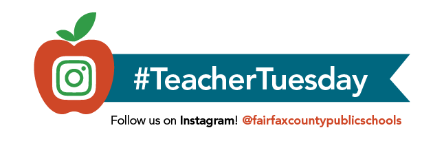 #TeacherTuesday graphic, inviting people to check out FCPS' latest teacher profile on Instagram.
