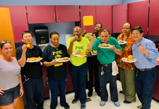Poe MS custodial staff enjoying lunch