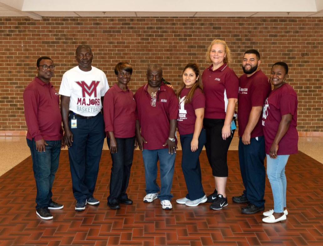 Mount Vernon HS custodians in spirit wear
