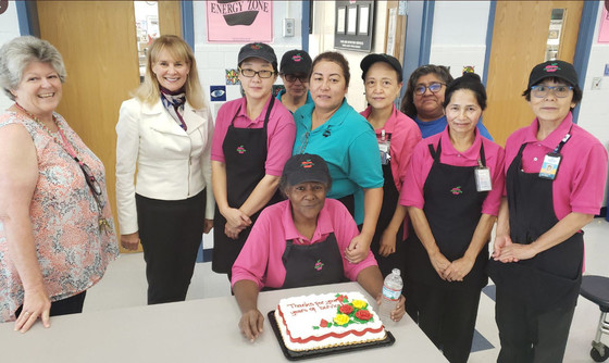 Longfellow MS staff celebrate Food Services Worker Dorothy Jackson for 40 years of service at FCPS.
