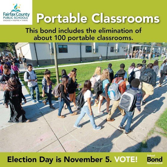 School bond referendum graphic showing portable classrooms