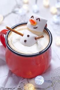 Marshmallow snowman in Hot Cocoa