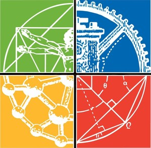 four squares, red, green, yellow and blue background with white designs of engineering topics