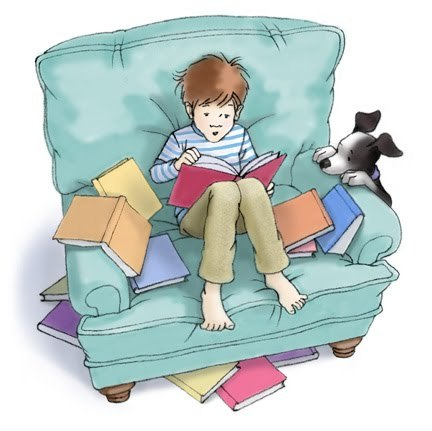 illustration of young boy reading in a soft chair with books around and a puppy looking on