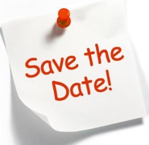Save the date post it in red