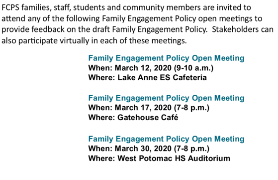 Family Engagement Policy Open meeting text