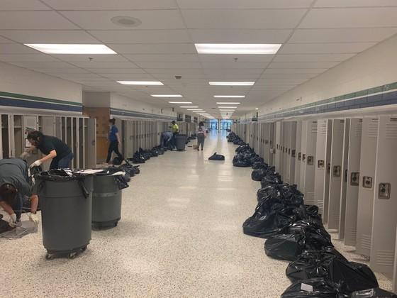 emptying lockers