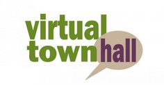 the words Virtual Town Hall with talking bubbles