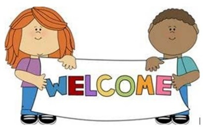 "Two cartoon children hold a sign that says ""Welcome"""